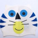 Kid Swimming Pool Cat Tiger Swim Sliccon Fabric Cap / Bathing Cap White