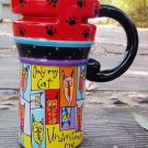 Hand Painted Cup Mug Vase Studio Cat  Design