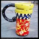 Hand Painted Cup Mug Vase Studio Rattan Flower Design