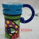 Hand Painted Cup Mug Vase Studio Fish Design B2