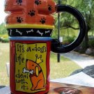 Hand Painted Cup Mug Vase Studio Dog Design