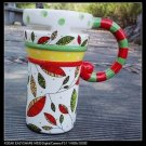 Hand Painted Cup Mug Vase Studio Christmas Leaf Design