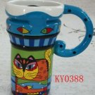 Hand Painted Cup Mug Vase Studio Cat Design B4