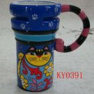 Hand Painted Cup Mug Vase Studio Cat Design B2