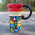 Hand Painted Cup Mug Vase Butterfly Cat Design B2