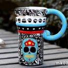 Hand Painted Cup Mug Vase Skull Design
