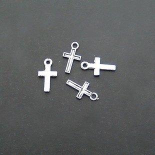 Lot of 100pcs mini Cross dollhouse miniature toy/jewelry bracelet  metal alloy Charm B2