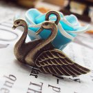 Lot of 200pcs mini Twin Swan dollhouse miniature toy/jewelry bracelet  metal alloy Charm B2