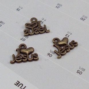 Lot of 500pcs I love Jesus dollhouse miniature toy/jewelry bracelet  metal alloy Charm A1