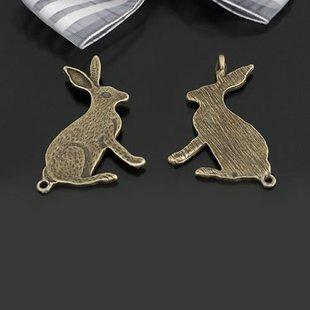 Lot of 100pcs Rabbit dollhouse miniature toy/jewelry bracelet  metal alloy Charm A1