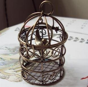 BIg Bird Cage 75 X 34MM dollhouse miniature toy/jewelry bracelet  metal alloy Charm A1