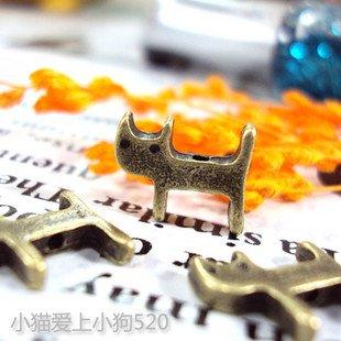Lot of 300pcs CAT 13mm dollhouse miniature toy/jewelry bracelet  metal alloy Charm