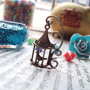 Lot of 200pcs Bird Cage 35mm dollhouse miniature toy/jewelry bracelet  metal alloy Charm