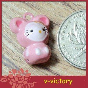 10 x Cartoon Bell Dog Pet Cat Collar Pink Mouse 2cm