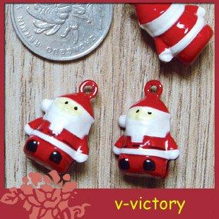 10 x Cartoon Bell Dog Pet Cat Collar Santa Claus 2cm