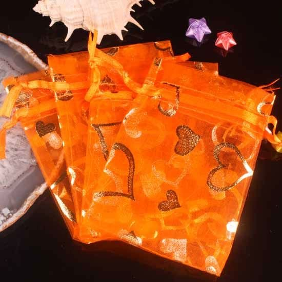 100pcs 7 x 9cm Orange Heart Organza Bag Jewelry gift Bag Wedding Accessory Pouch