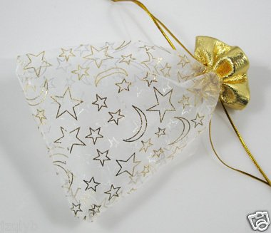 100pcs 9 x 12cm White Moon Star Organza Bag Jewelry gift Bag Wedding Accessory Pouch