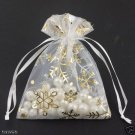 100pcs 9 x 12cm White Snowflake Organza Bag Jewelry gift Bag Wedding Accessory Pouch