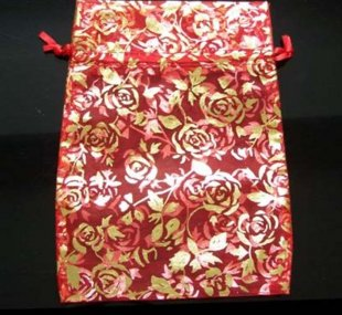 100pcs 9 x 12cm Red Rose Organza Bag Jewelry gift Bag Wedding Accessory Pouch