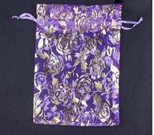 100pcs 9 x 12cm Purple Rose Organza Bag Jewelry gift Bag Wedding Accessory Pouch