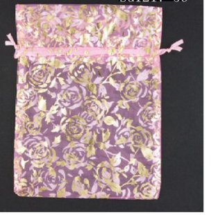 100pcs 9 x 12cm Pink Rose Organza Bag Jewelry gift Bag Wedding Accessory Pouch