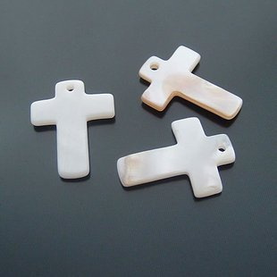 20pcs Shell Bead White Cross Fitting 22 x 17mm