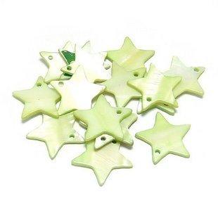 40pcs Shell Bead Green Star Pentagram Disk Fitting 18mm