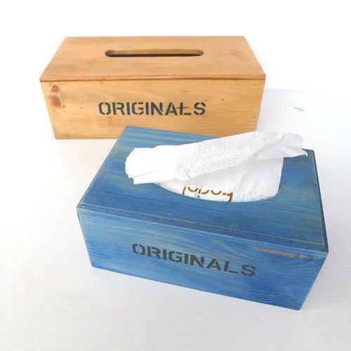 Original Blue Wooden Stack BOOK tissue box holder souvenir/gift