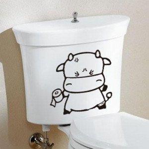 2pcs COW Wall Sticker Art Toilet Bathroom Vinyl Decor