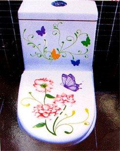 2pcs Flower Wall Sticker Art Toilet Bathroom Vinyl Decor B2