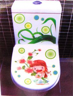 2pcs Girl Wall Sticker Art Toilet Bathroom Vinyl Decor