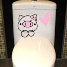2pcs Pig Wall Sticker Art Toilet Bathroom Vinyl Deco