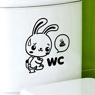 2pcs Rabbit Wall Sticker Art Toilet Bathroom Vinyl Deco B3