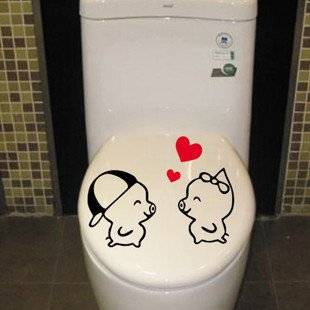 2pcs Love Pig Wall Sticker Art Toilet Bathroom Vinyl Deco