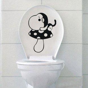 2pcs Mushroom Monkey Wall Sticker Art Toilet Bathroom Vinyl Deco B2