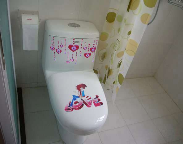 2pcs Love Wall Sticker Art Toilet Bathroom Vinyl Deco B5