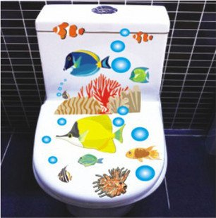 2pcs Tropical Fish Wall Sticker Art Toilet Bathroom Vinyl Deco B3