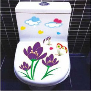 2pcs Flower Wall Sticker Art Toilet Bathroom Vinyl Deco B7