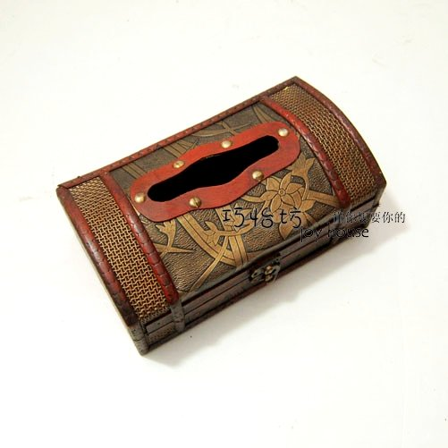 Anitque Wooden Stack Book Wood Tissue Box Holder Gift/Deco B3