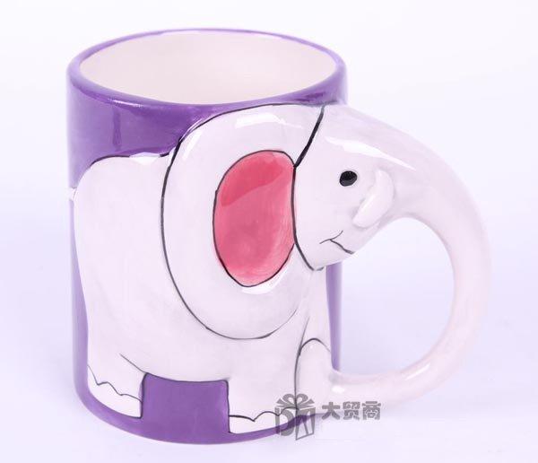 Hand Painted Cartoon Elephant Animal Cup Mug Vase Skull Design