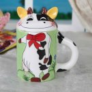 Hand Painted Cartoon Cow Animal Cup Mug with Lid
