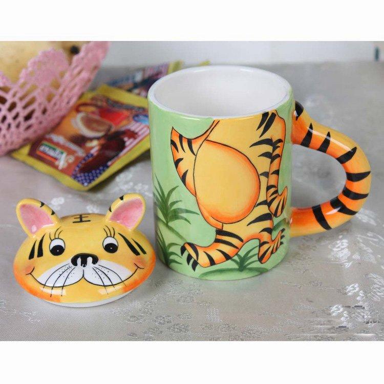 Hand Painted Cartoon Tiger Animal Cup Mug with Lid