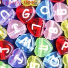 500g Assorted Acrylic Bead / Transparent Heart Alphabet ABC Letter Charm 11mm/ B2