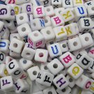 500g Assorted Acrylic Bead / Square Cube Beads Alphabet ABC Letter Charm 6mm/ jewelry accessory