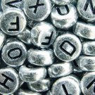 500g Silver Acrylic Bead / Coin Round Beads Alphabet Charm 6mm/ jewelry accessory