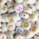 500g White Acrylic Bead / Acrylic Alphabet Charm 6mm/ jewelry accessory