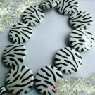 1000g Zebra Striped Flat Charm Beads 30mm