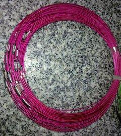 100pcs Fuschia Memory Steel Necklace Choker Cord Wire Diameter 13cm