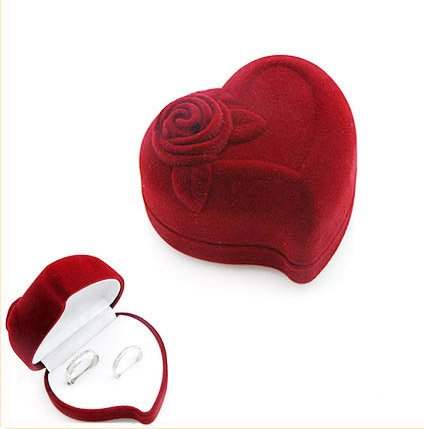 50pcs Jewelry Display Red Heart Rose Love Velvet Ring Stud Box Gift Box Case