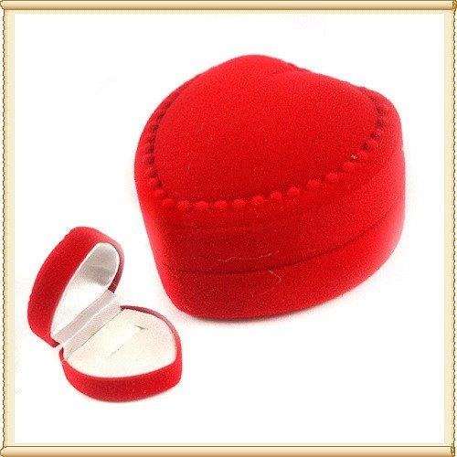 50pcs Jewelry Display Red Heart Love Velvet Ring Stud Box Gift Box Case